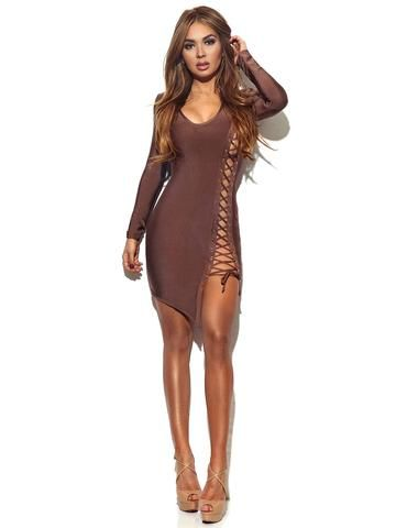 92e25fb16c5b Tatianna Coffee Lace Up Detail Long Sleeve Bandage Dress