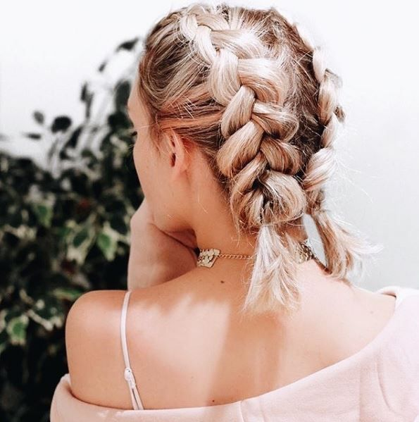 #dutch #braided hairstyles| ponytail | long hair | blonde hair color | diy and how to | for girls and beginners easy | tutorial | with hair extension | two sides braids