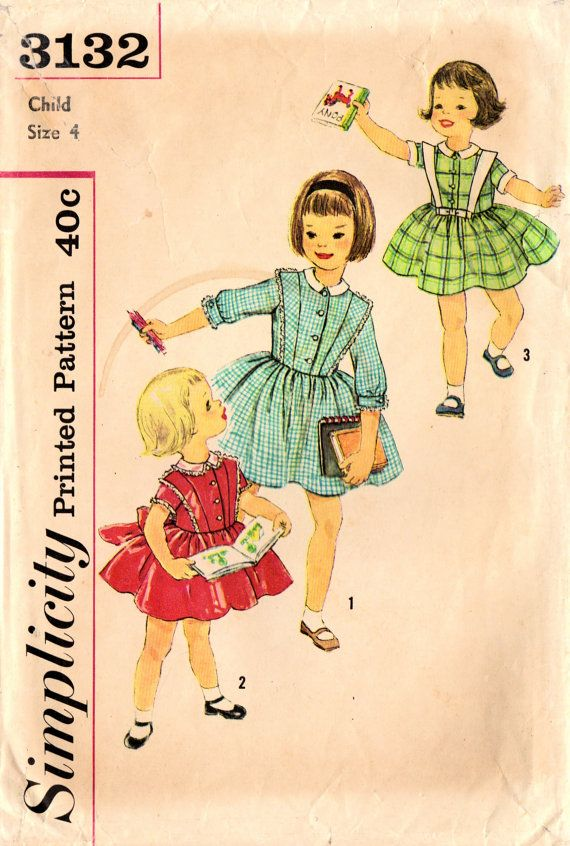 1950s Simplicity 3132 Vintage Sewing Pattern Girl\'s Full Skirt Dress ...