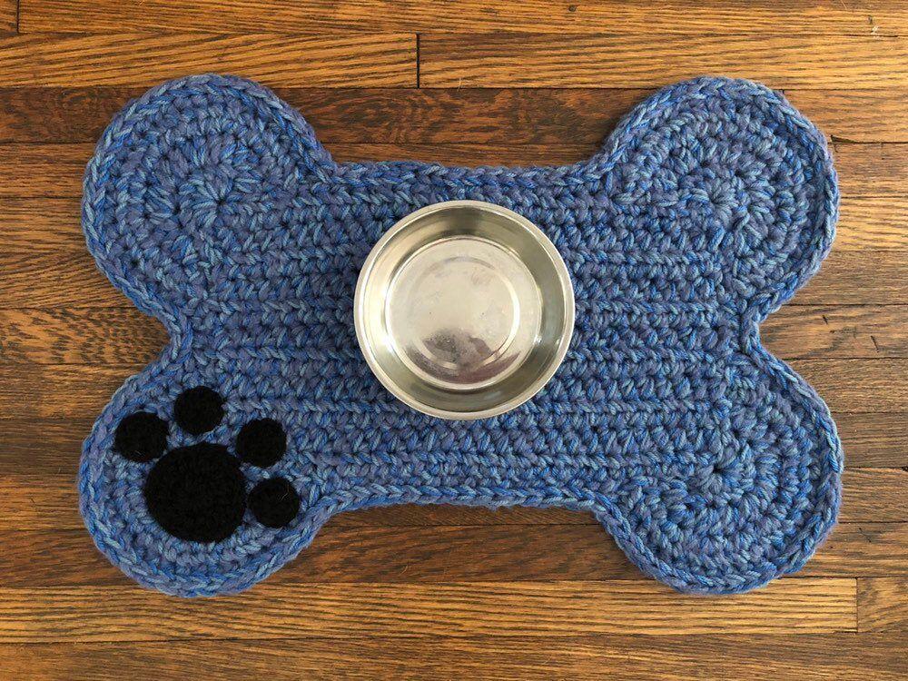 Blue Dog Bone Placemat Paw Print Crochet Dog Food Bowls Placemat Dog Pet Crate Mat Personalized Dog Bone Rug Mat Standard Size Crochet Dog Hand Crochet Complimentary Colors