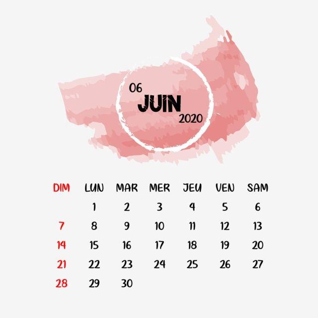 June Frensh Calendar Clipart Png Vector Element, Calendrier
