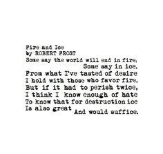 fire and ice robert frost - Google Search | Poems | Pinterest ...