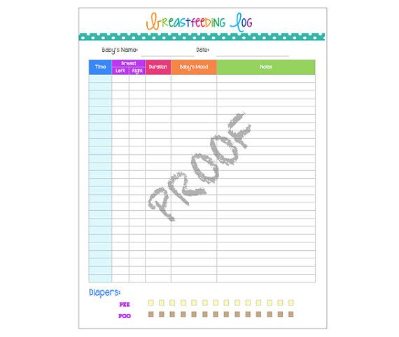 Instant Download Breastfeeding Log Pdf Printable Planner Track Baby Feeding And Diaper Changing Whimsical Colorful Mom Planner Baby Time Baby Life