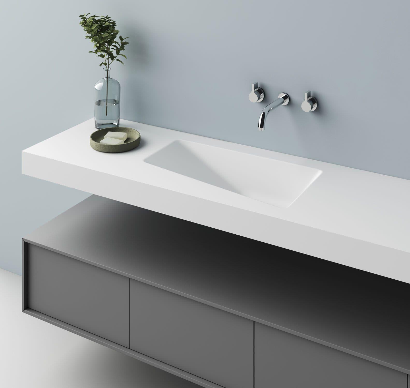Aufsatz Waschbecken Ander Form Aus Corian Originelles Design Lux Planit Waschbecken Design Badezimmer Mobel Waschkuchendesign