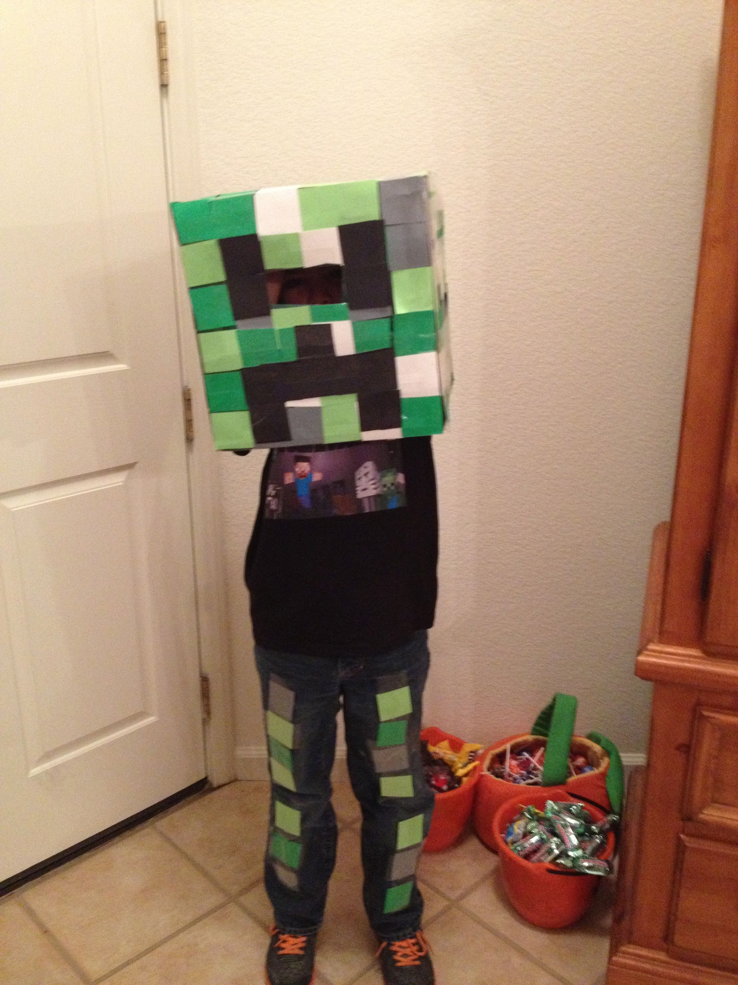 Prestonu0027s Creeper costume. Made the head bought a Minecraft shirt and then added more squares to the jeans! & Prestonu0027s Creeper costume. Made the head bought a Minecraft shirt ...