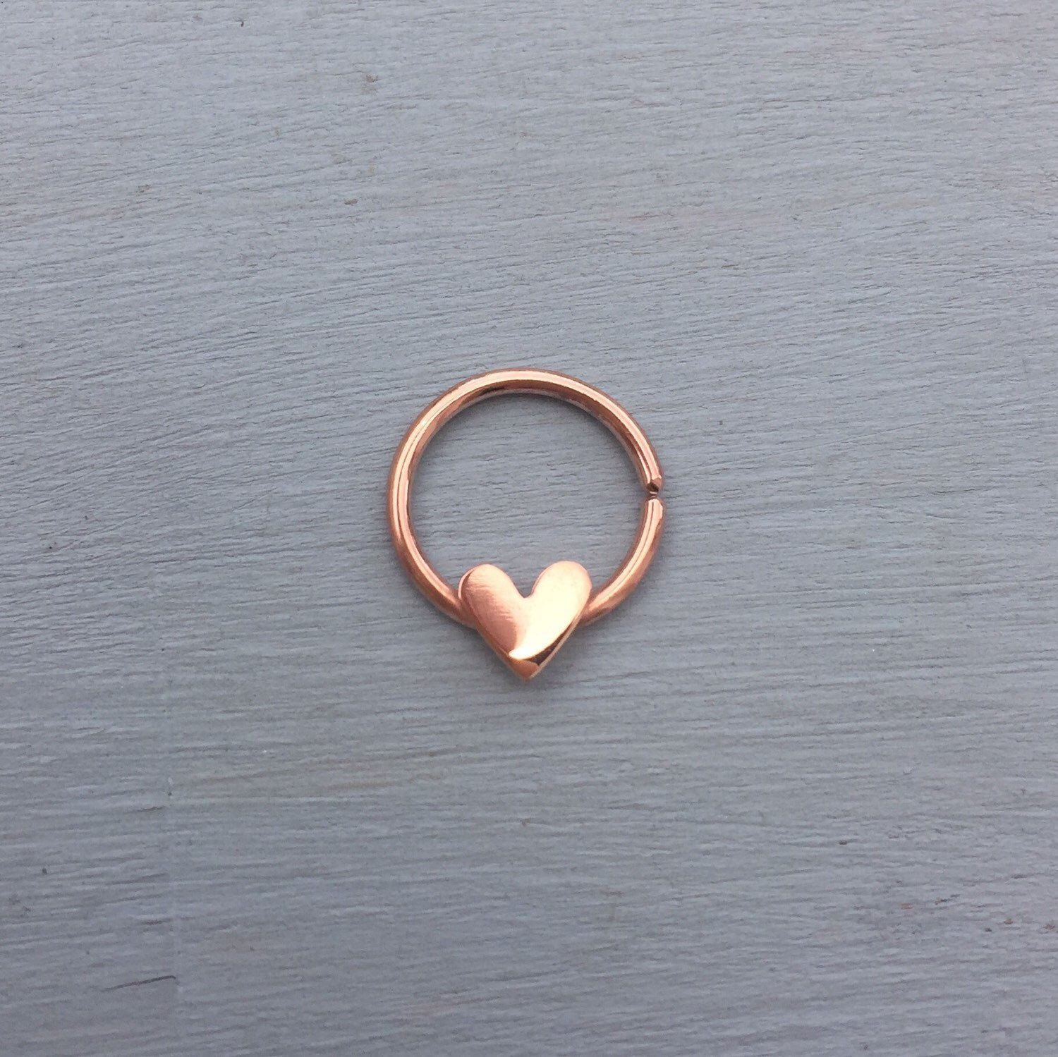 Love Heart Septum Ring 22ct Rose Gold Vermeil Jewelry Ring
