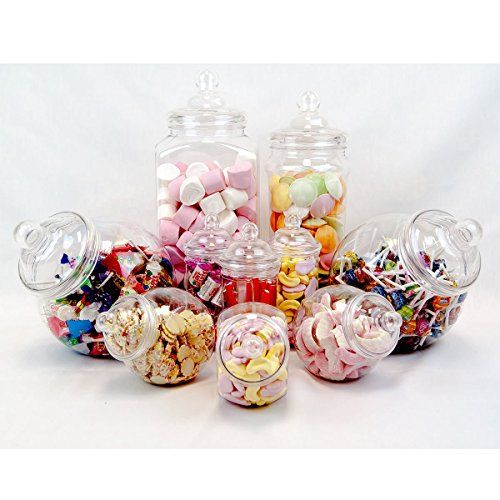10 Pc Candy Buffet Set Plastic Jars Containers Sweets For