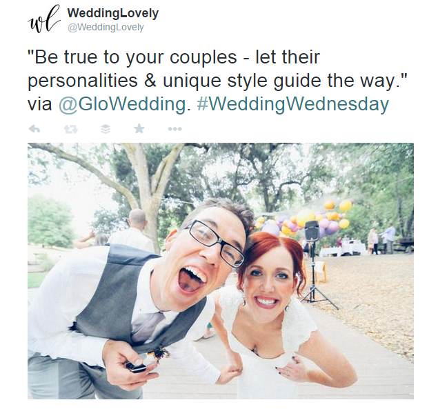 """Be true to your couples - let their personalities & unique style guide the way."" via @GloWedding. #WeddingWednesday"