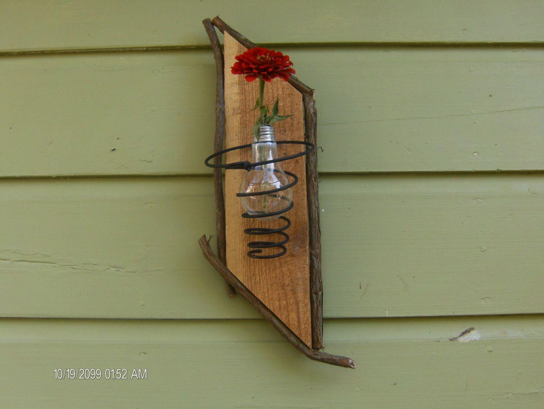 15 dollars ???? Bed Spring Light Bulb Vase on Reclaimed Barnwood ...
