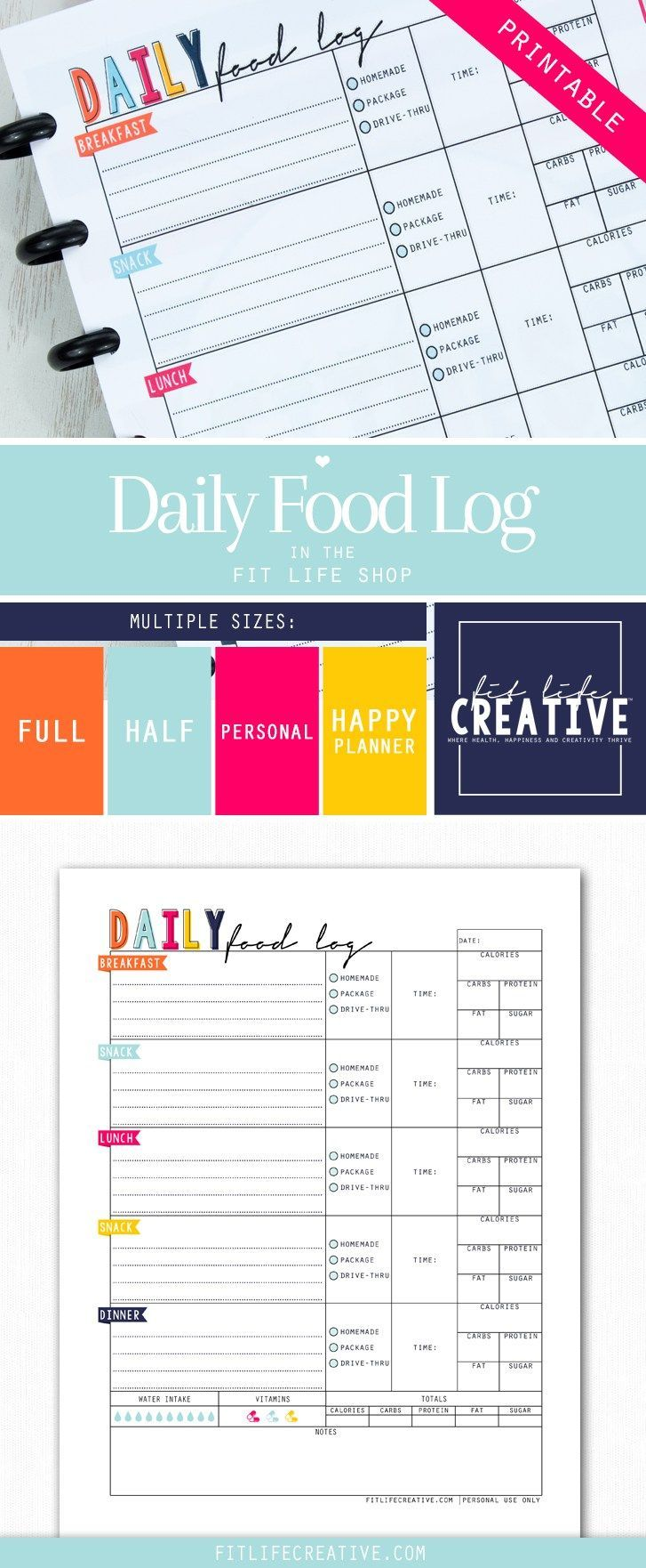 printable daily food log is a great way to keep track of your meals