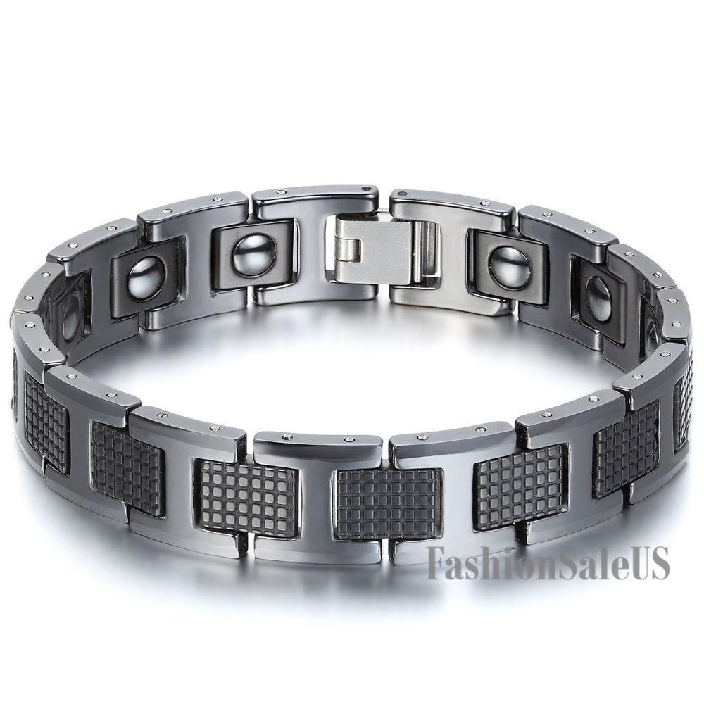 Menus simple health fashion tungsten carbide magnetic bracelet