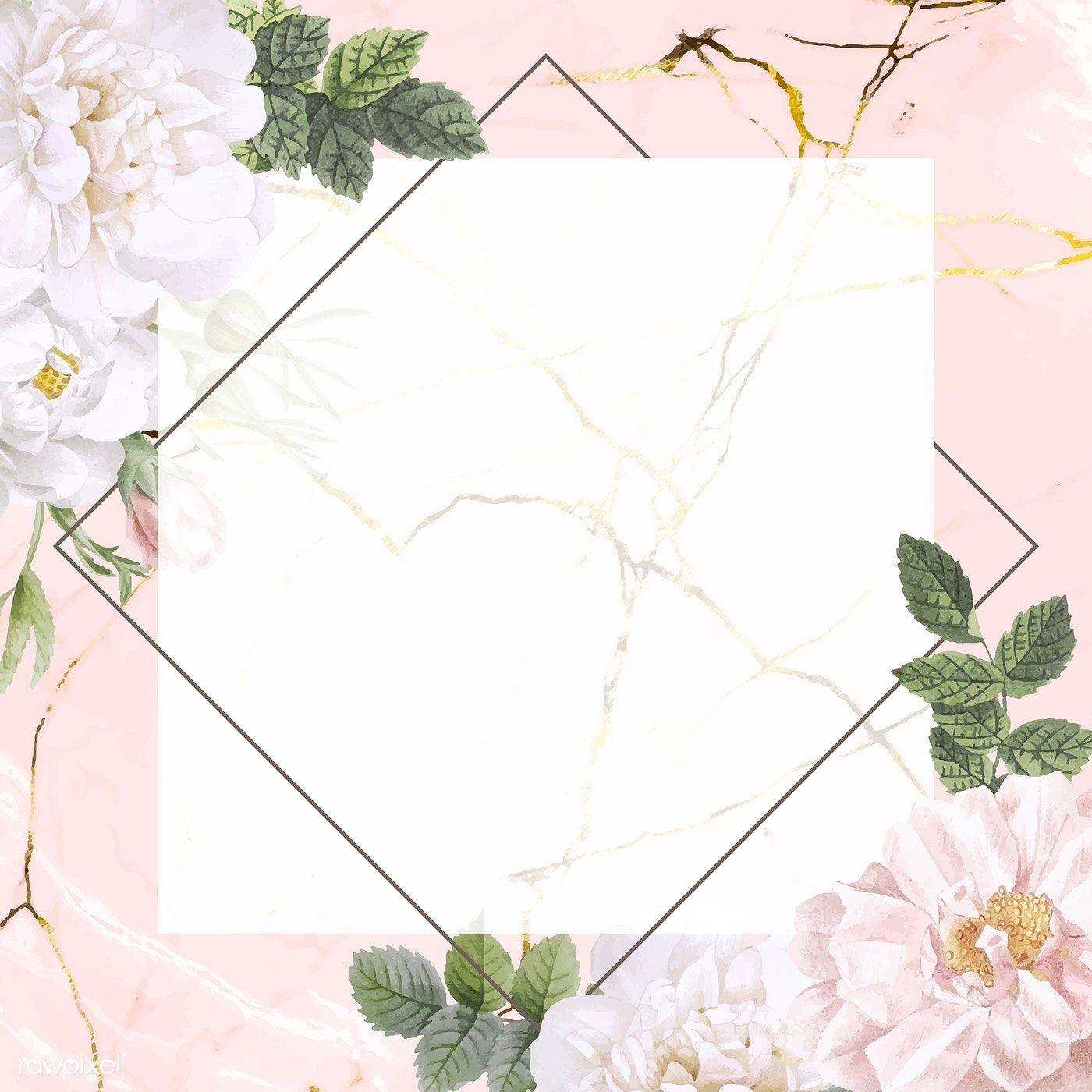 Download Premium Vector Of Frame On A Marble Background With Musk Rose Marble Background Musk Rose Flower Background Wallpaper