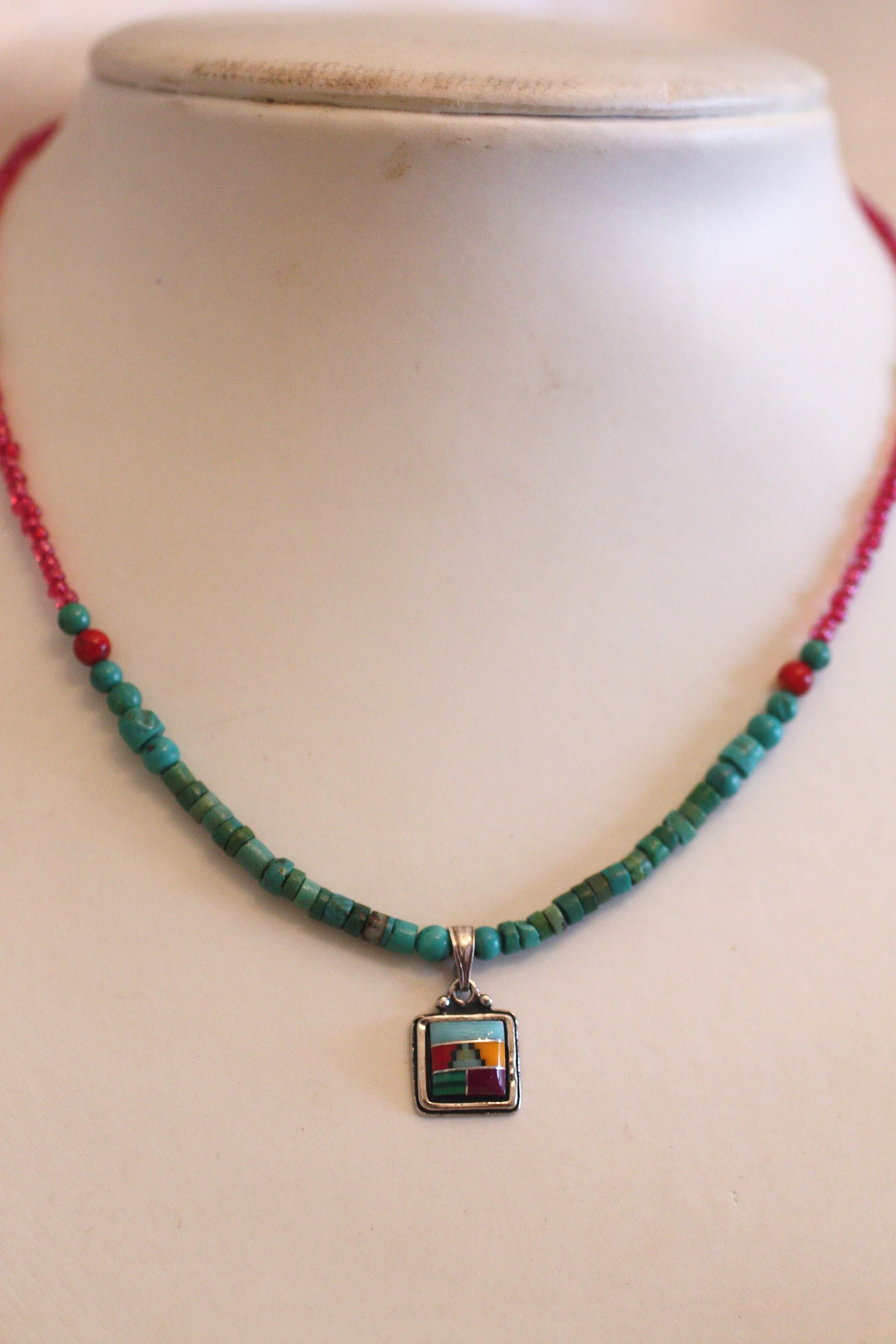 pendant necklace and earrings opal set jewelry zuni style inlay stone sterling multi american pin geometric native patterned
