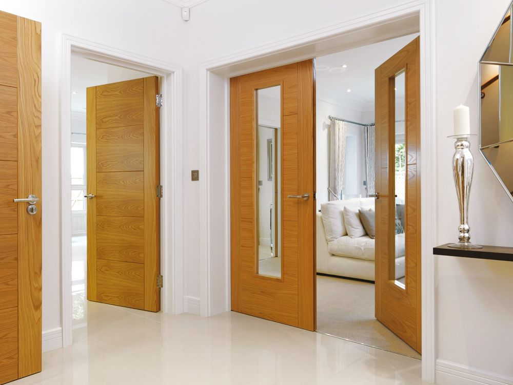 River oak modern emral glazed interior fire door