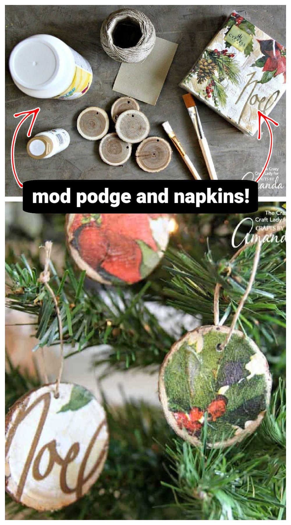 Decoupage Wood Slice Ornaments Wood Slice Ornament Decoupage Wood Christmas Ornaments