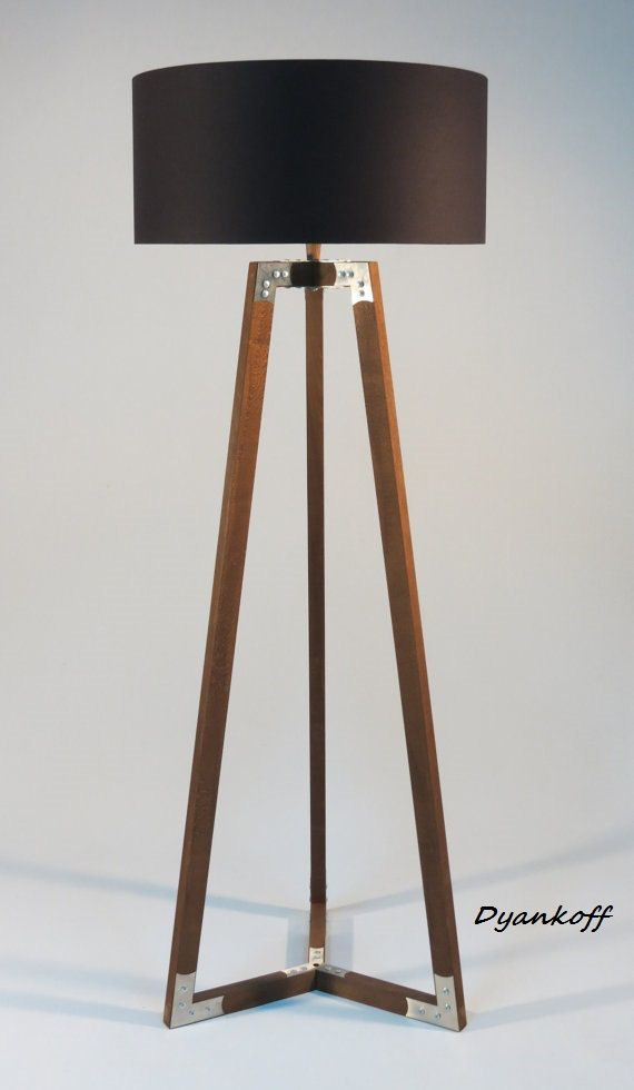 Handmade Tripod Floor Lamp Wooden Stand In Dark Wood Color With Metal Elements Drum Lampshade Different C Lamparas Artesanales Lampara Madera Lamparas De Pie