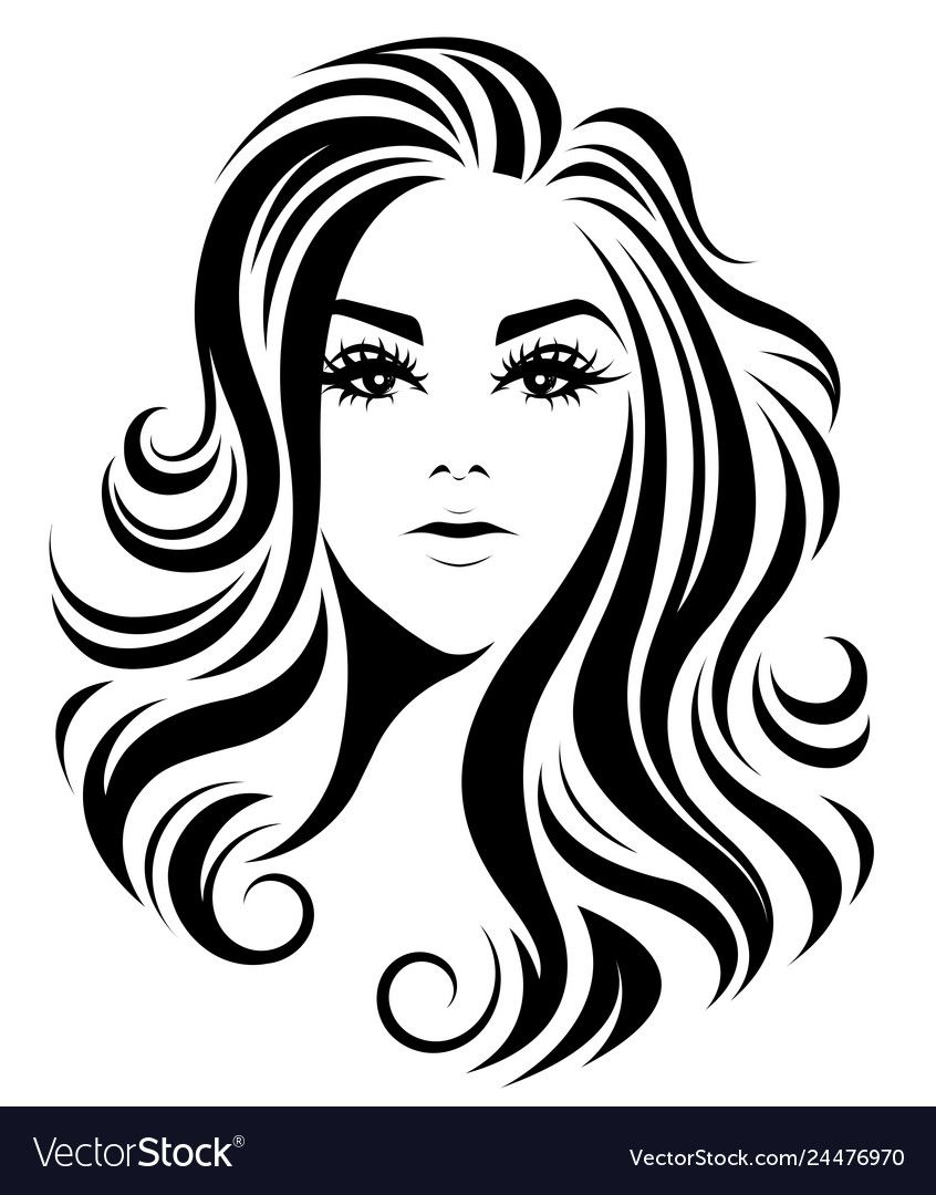 Illustration Of Women Long Hair Style Icon Logo Women On White Background Vector Download A Free Preview Or High Qu Pop Art Face Silhouette Clip Art Pop Art