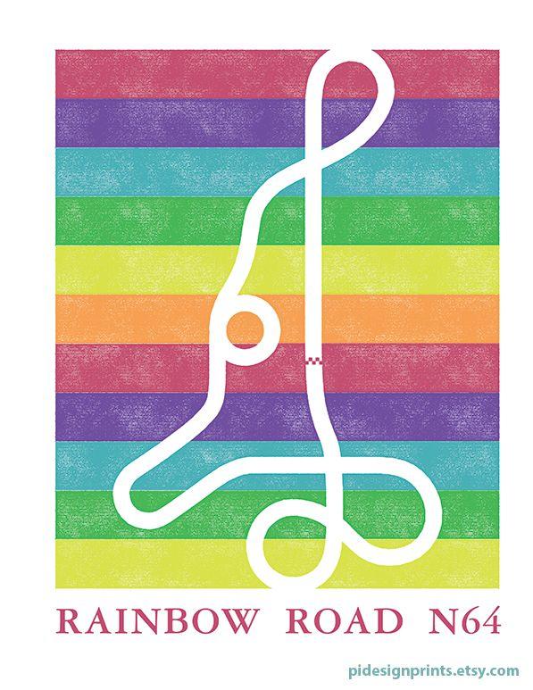 Mario Kart 64 Rainbow Road Track Map Poster Super Mario