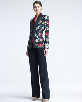 I'd pair the jacket with cream pants with a more tailored fit and a textured sandal or peep-toe pump. (Floral Matelasse Jacket, Belted Top & Straight-Leg Pants | Etro)