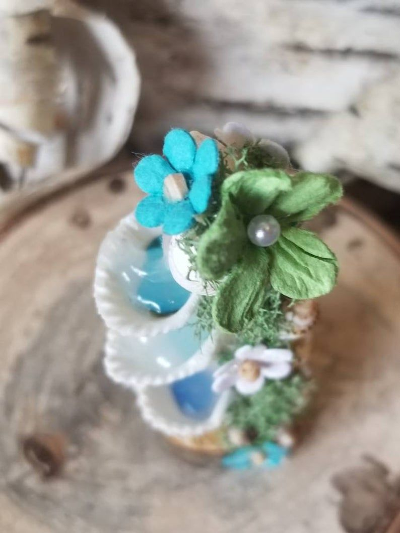 OOAK Handmade Miniature Fountain, Fairy Garden Fountain, Dollhouse Accessories, Miniature Shell Faerie Fountain, Natural Shell Collectible #dollhouseaccessories