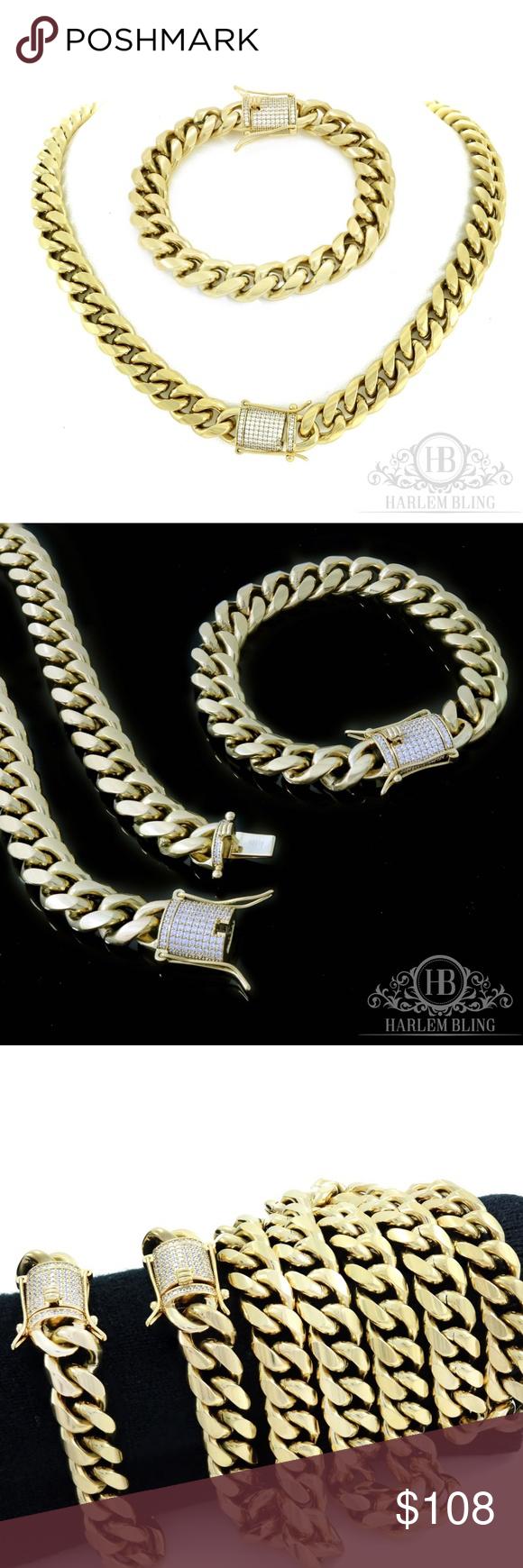 Mens cuban miami link bracelet u chain set nwt my posh picks