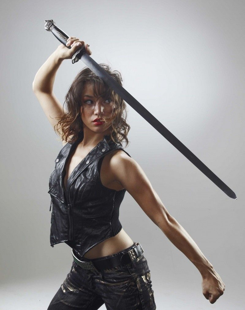 hot girl poses as warriors