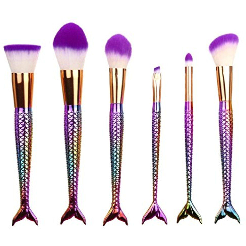 Cosmetic Brush,YJM 6PCS Mermaid Makeup Brush Set Synthetic