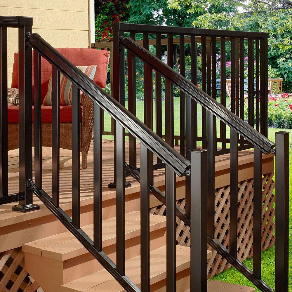 Peak Aluminum Railing 6 Ft Aluminum Stair Hand And Base Rail In   Home Depot Outdoor Steps   Anti Slip Stair Tread   Deck Railing   Pressure Treated   Wrought Iron Railings   Stair Riser