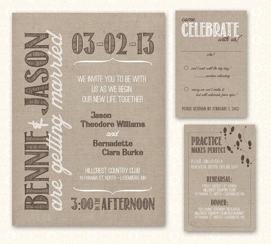 Printable wedding invite u rsvp card burlap via etsy