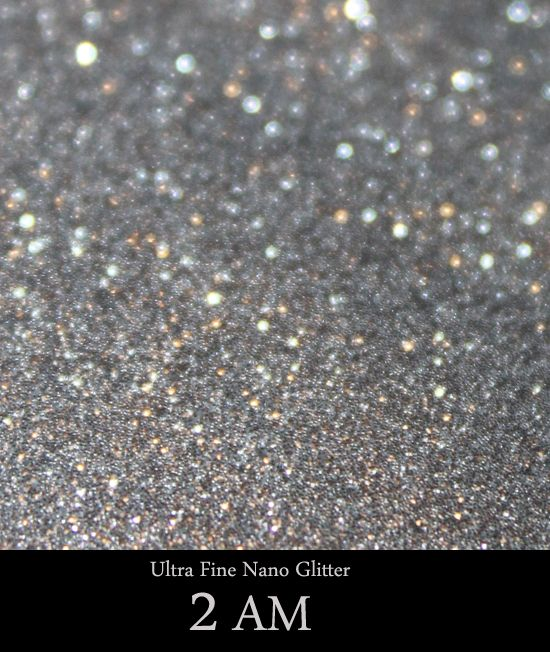"2AM:  Sterling Silver Colored Ultra Fine Nano Glitter    Our Ultra Fine Nano Cosmetic Grade Glitters are all treated with a soft coating.  Never apply glitter ""dry"".  Never rub glitter onto or around the eye area.  Always apply glitter to the eye area using a sticky base (by patting glitter on wi..."