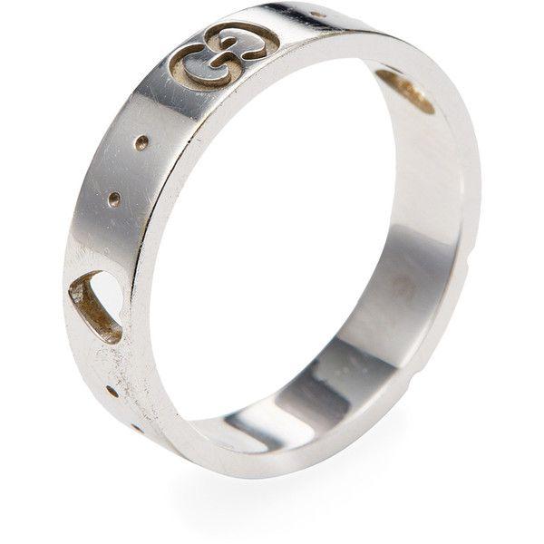 dc5b17048 Gucci Women's Vintage Gucci 18K White Gold Heart Cutout Band Ring -... (