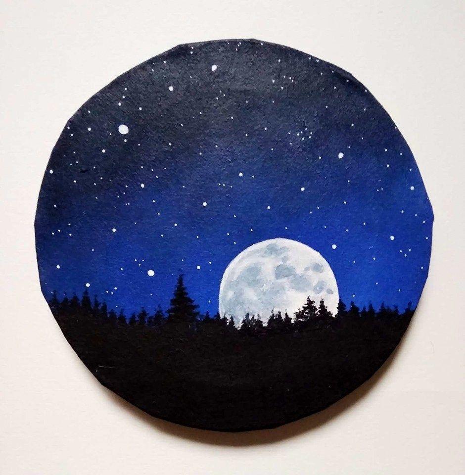 Tableau De Nuit Pleine Lune Decoration Murale Et Interieure En