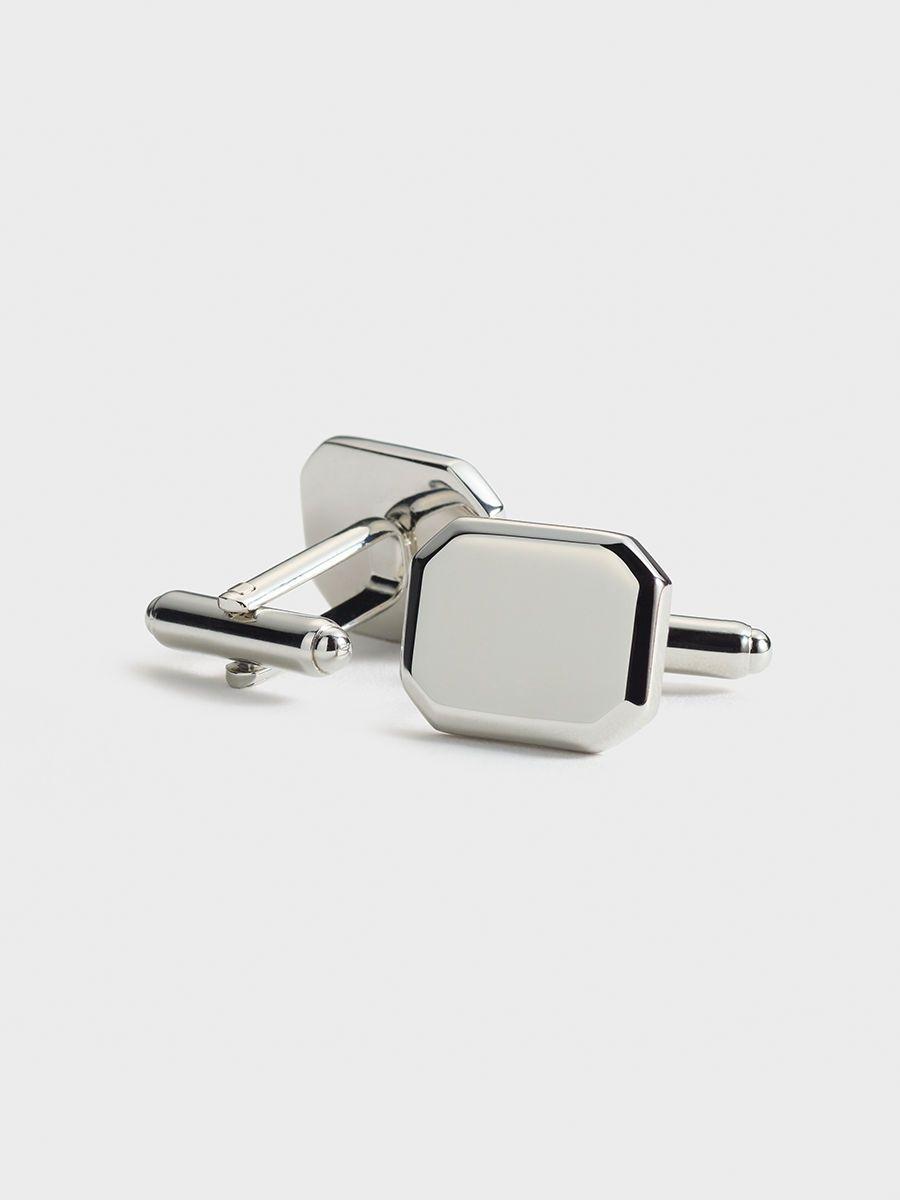 Square Cuff Links Silver Tone Dapper Formal