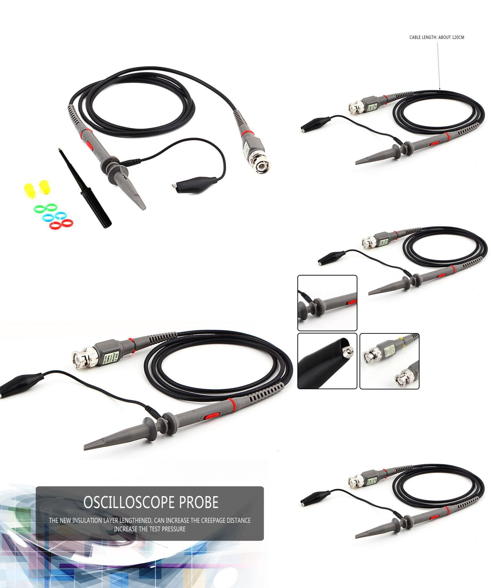 [Visit to Buy] 2017 New P6100 Oscilloscope 100mhz Osciloscopio Probe DC-100MHz Scope Clip Probe 100MHz Multimeter Probe #Advertisement