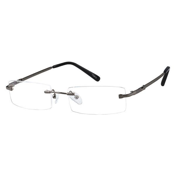 55555766be60 Zenni Mens Lightweight Rimless Prescription Eyeglasses Gray Bendable Memory  Titanium 170412