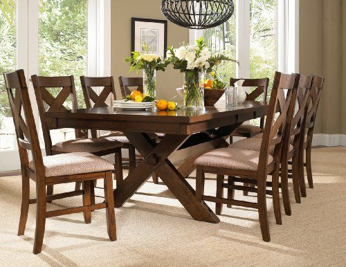 Roundhill Furniture 9Piece Karven Solid Wood Dining Set With Cool 9 Piece Dining Room 2018