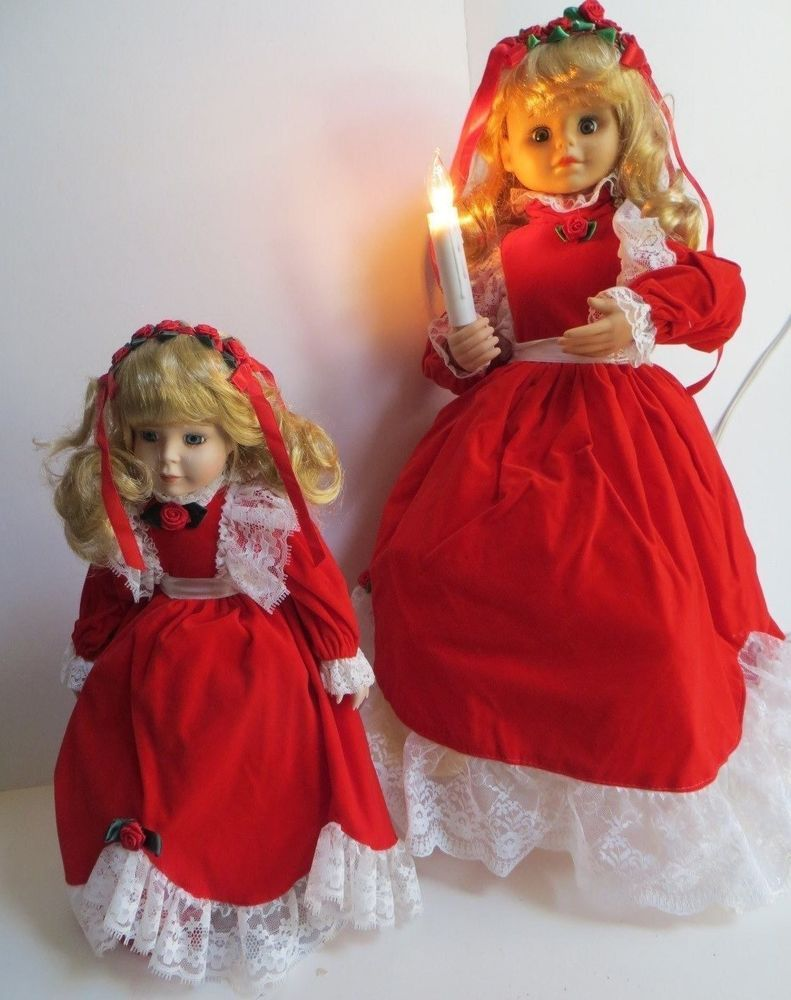 vintage animated christmas caroler girl 24 and 12 matching doll motionette - Animated Christmas Dolls