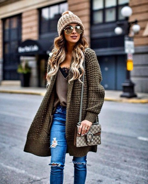 9fe50acdd8c Cardigan  tumblr oversized top grey top jeans denim blue jeans ripped jeans  bag chain bag printed