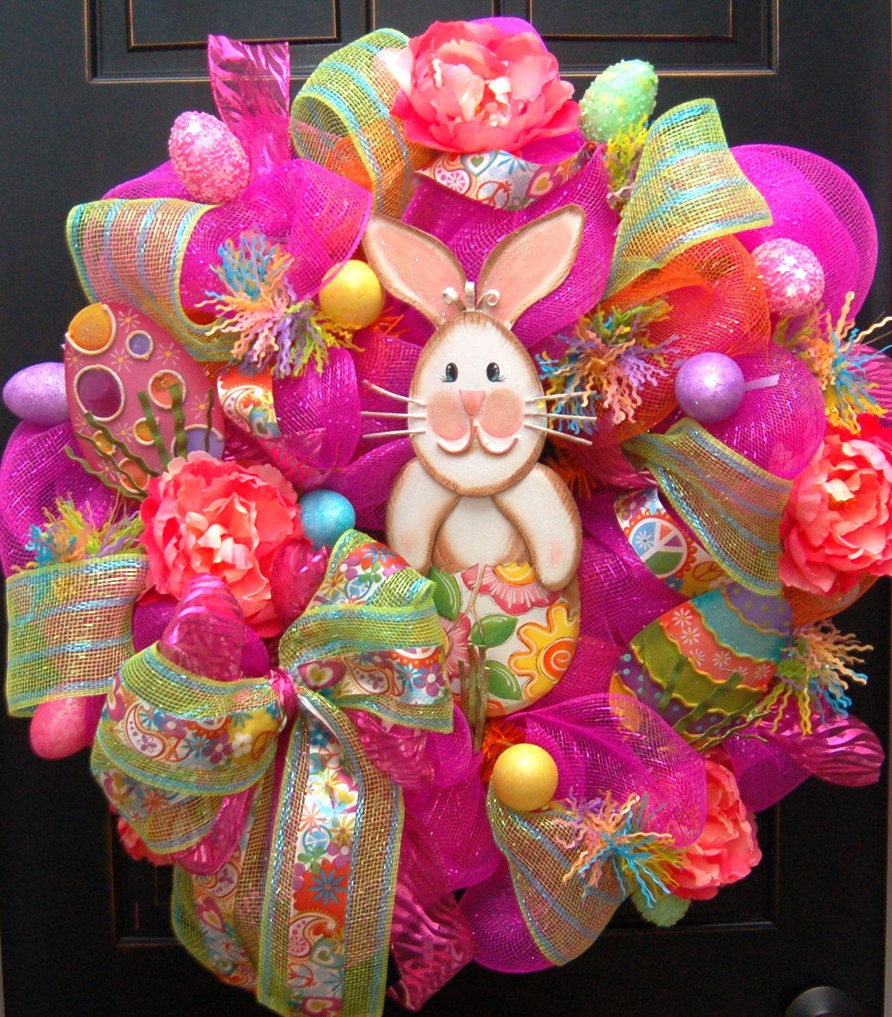 Chic Happy Easter Bunny Wreath Deco Mesh Round Top Happy