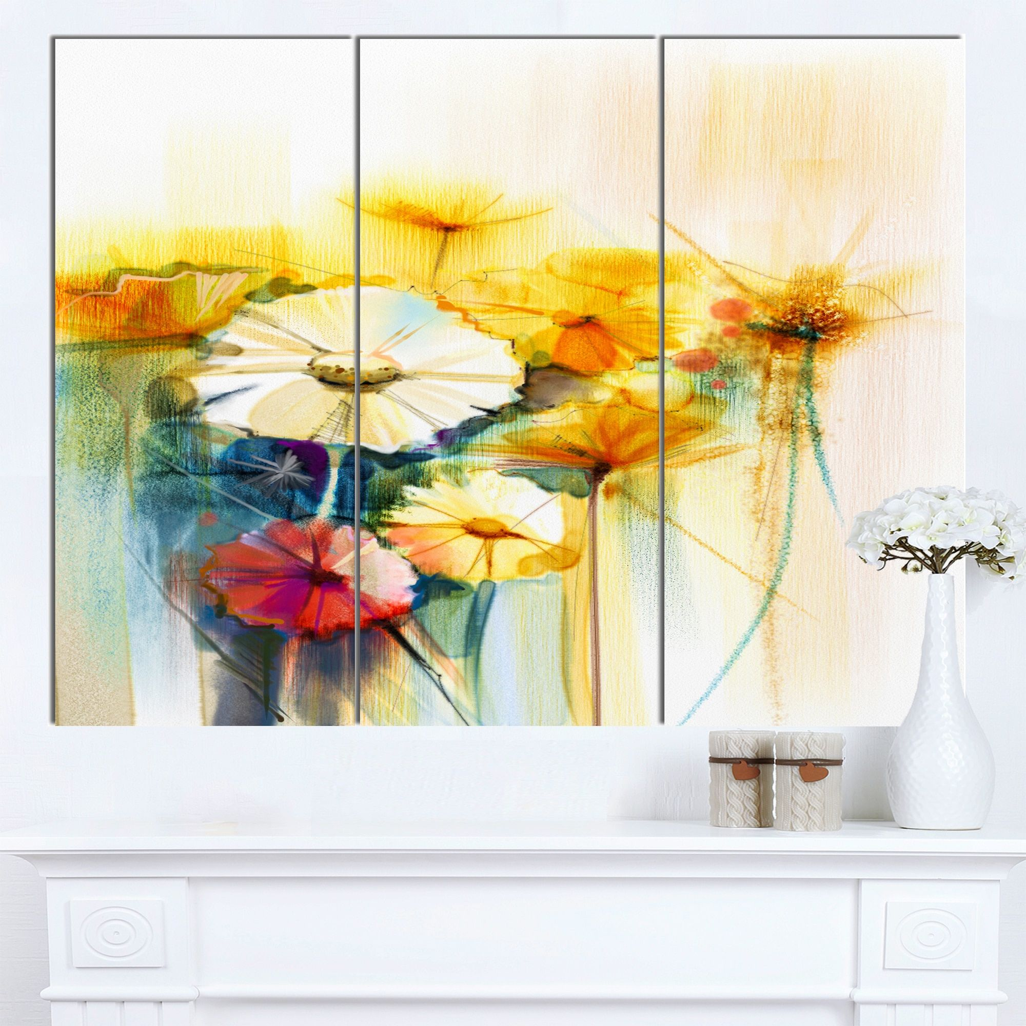 Designart \'Bunch of White Flowers\' Modern Floral Wall Art Canvas ...