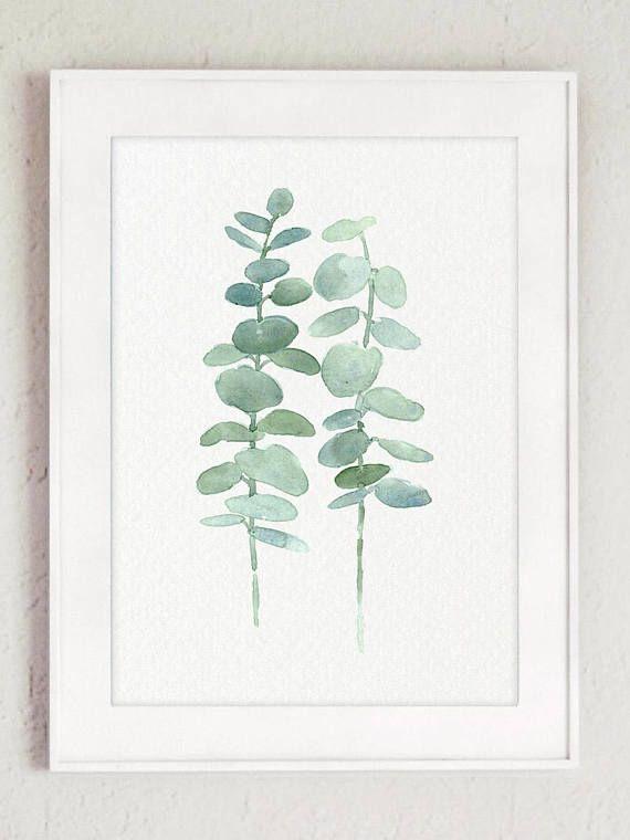 Eucalyptus Fine Art Print Canvas Wall Decoration, Mint Green