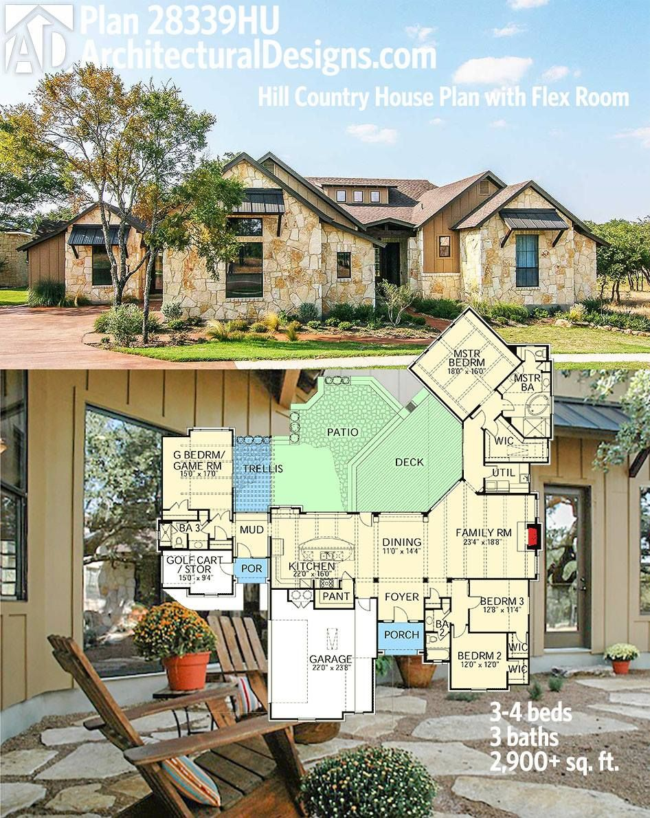 plan 28339hj hill country house plan with flex room house plans architectural designs hill country house plan 28339hj gives you 3 to 4 beds and over 2 900