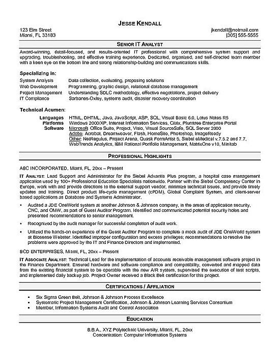 it-analyst Work Pinterest Sample resume, Resume examples and