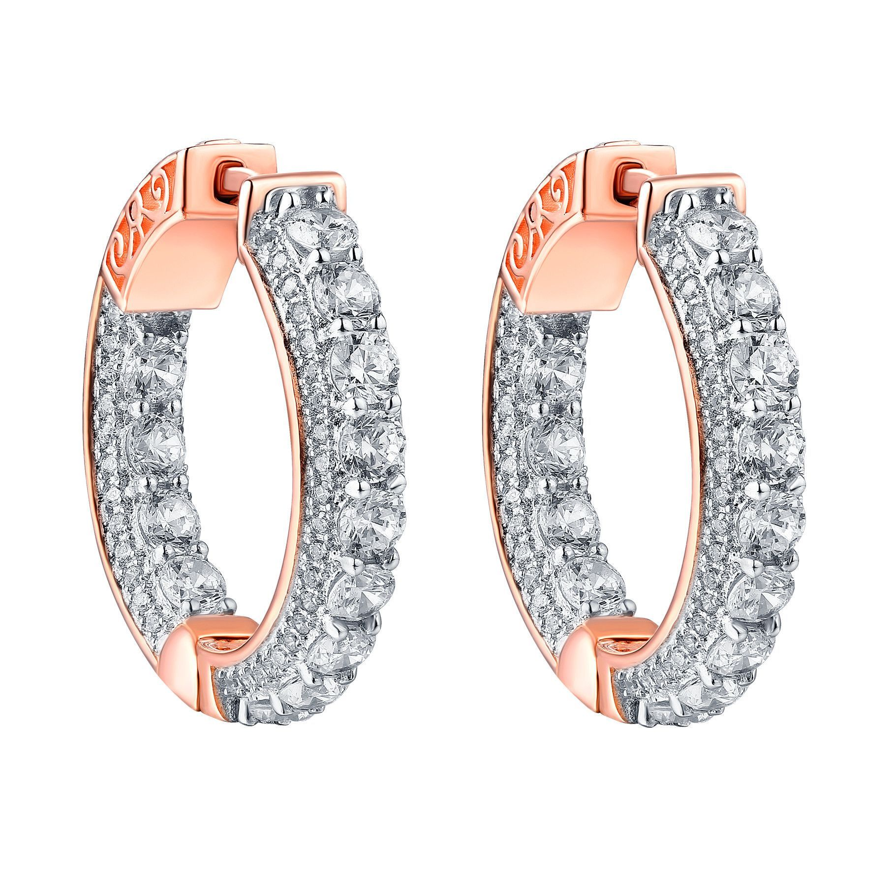 Hoop earrings iced out simulated diamonds k rose finish sterling