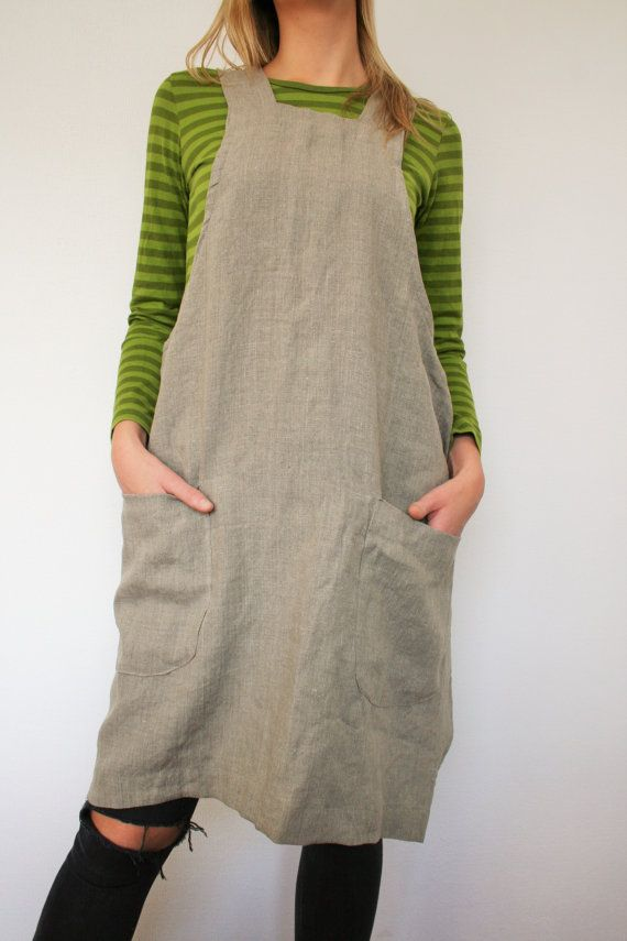 c94e7823b8 Linen Japanese Apron Dress Washed Linen Summer Pinafore Linen Smock Natural  Flax Apron Crossback Flax Tunic Made to order Color  BROWN Made with 100%