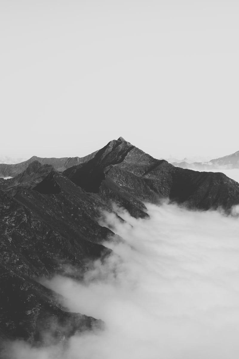 Grey Mountain Under White Sky Mountain Landscape Photography Mountain Silhouette Mountain Photography