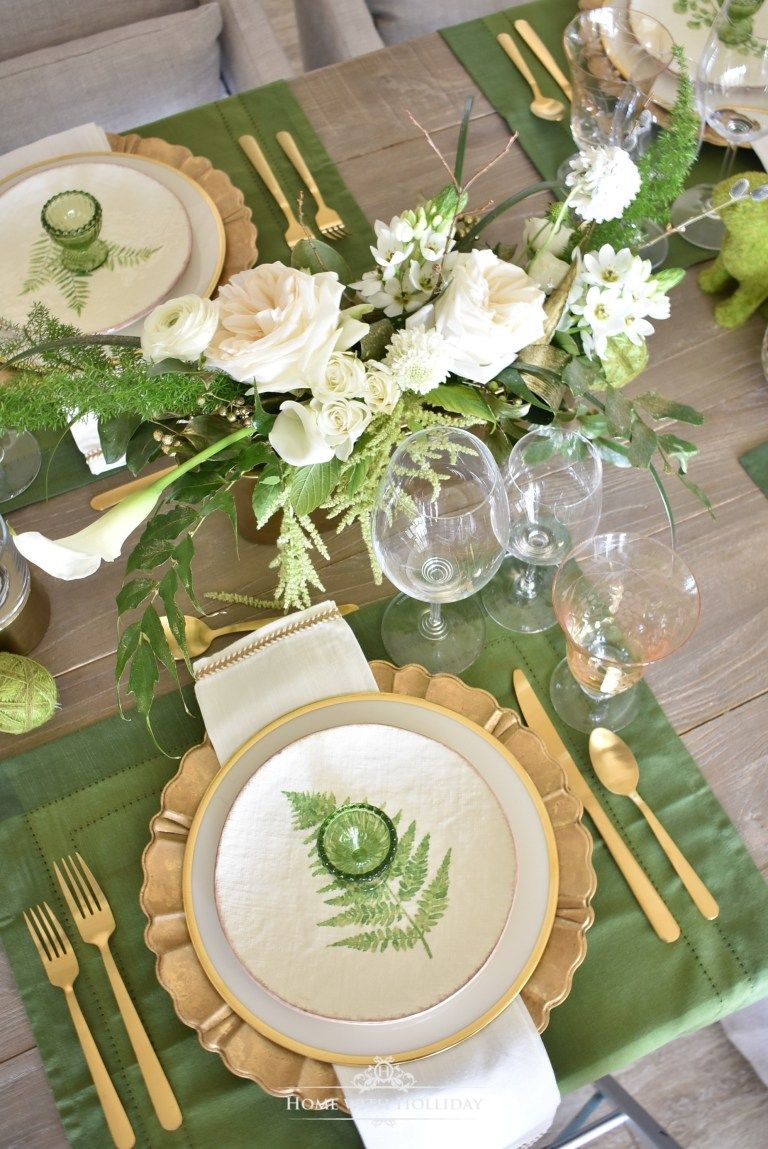 Green And Gold Easter Table Setting Home With Holliday Green
