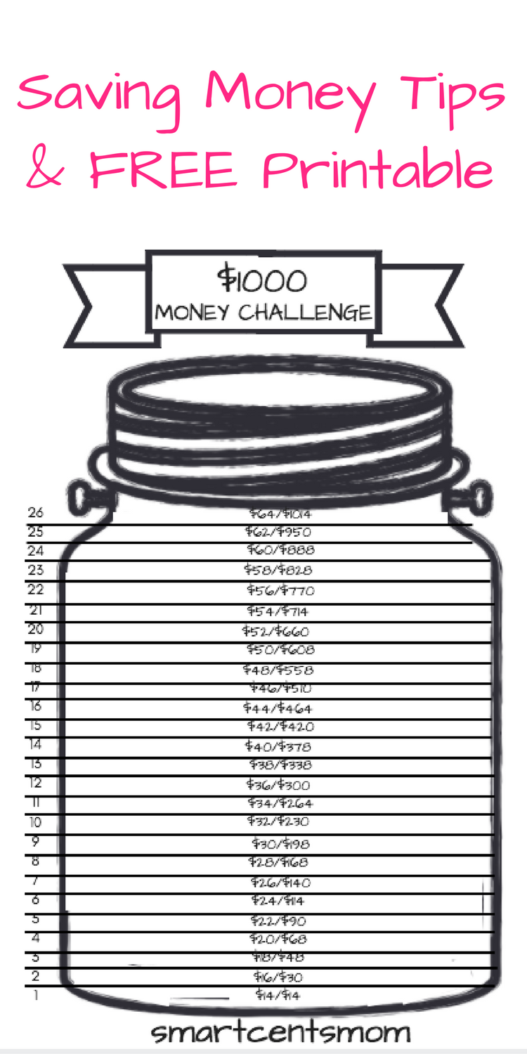 photograph regarding 26 Week Money Challenge Printable identify Help you save $1000 with out Breaking A Sweat! 26 7 days Economical Difficulty