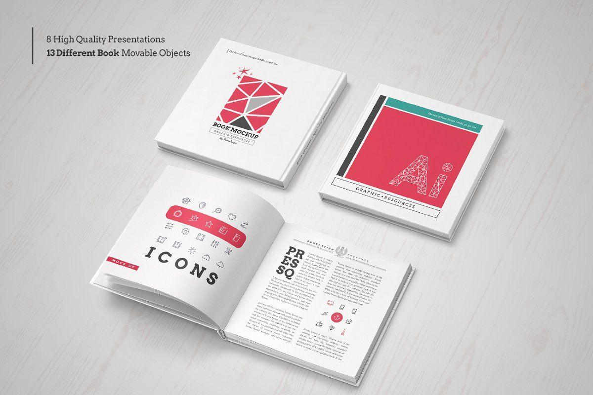 Ad Square Book Mock Up Set By Punedesign On Creativemarket Square Book Mock Up Hardcover Edition By 8 Psd Presentat Mocking Postcard Mockup Mockup