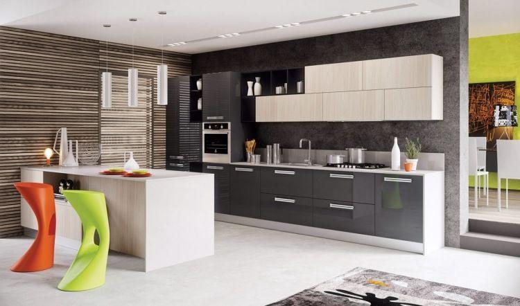 meubles de cuisine blanc laqu et gris anthracite carrelage sol assorti et tabourets design